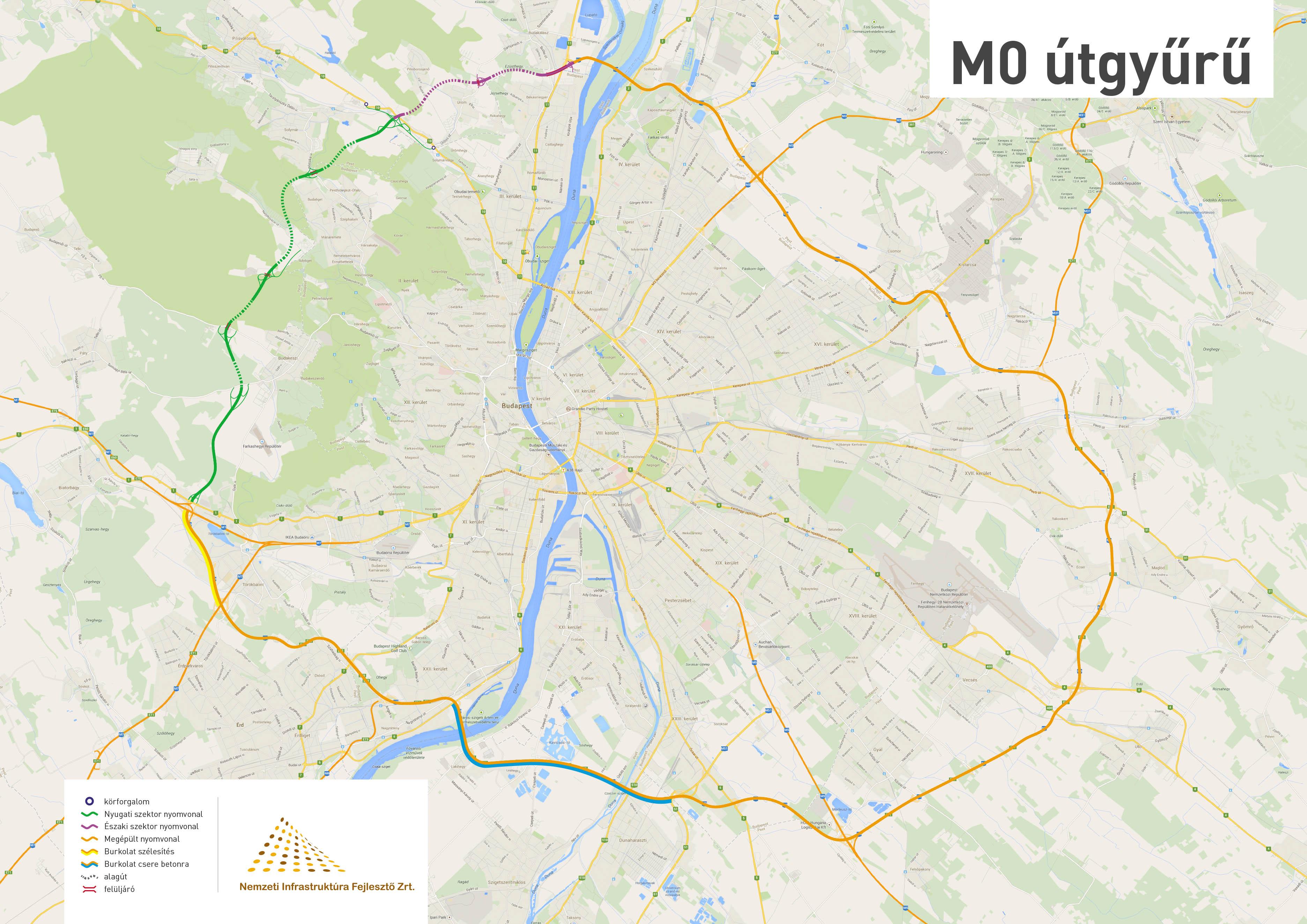 m0 felújítás térkép M0 s