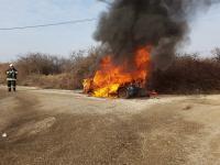 Kigyulladt egy autó Diósdon