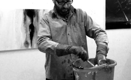 Magyar tájkép festőportréval, keretek nélkül